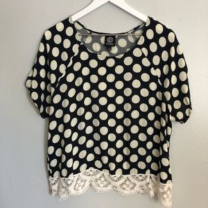 Bobeau Navy Cream Dot Blouse